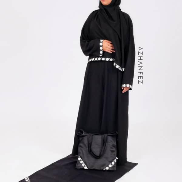 abaya azhanfez wax noir et blanc babmakina 3