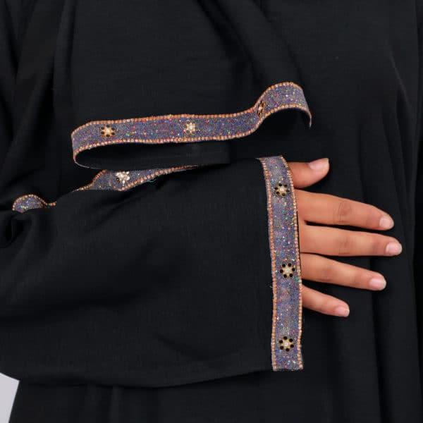 abaya azhanfez perles roses et noires merinide 1