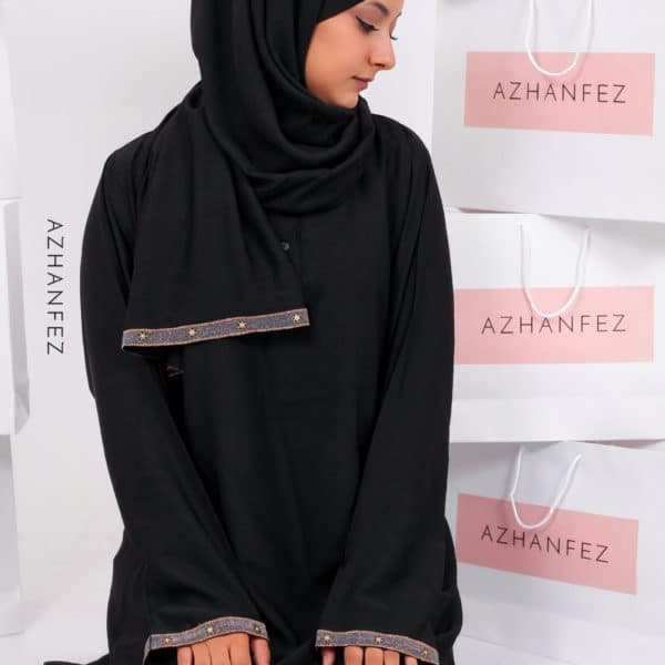 abaya azhanfez perles roses et noires merinide 2
