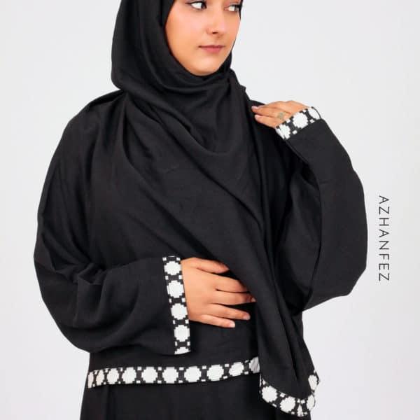 abaya azhanfez wax noir et blanc babmakina 1